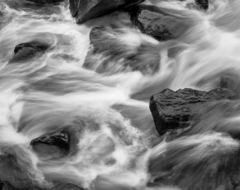 Beautiful Rapids - Black and White Photography - Fine Art Nature Photography 5x7 Digital Download