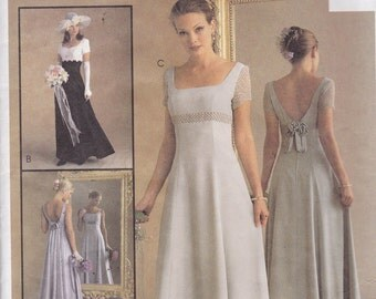McCalls 9126 Vintage Pattern Wedding Gown -Bridesmaid or Prom Dress In 3 Variations Size 4,6,8 UNCUT