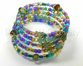 Purple Beaded Bracelet,Boho Style, Coil Beaded Bracelet, Memory Wire Wrap Bracelet, Handmade, Custom, Beaded Jewelry, Women's Jewelry