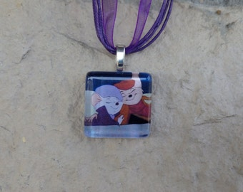 Disney Animals Collection Bernard and Miss Bianca from Disney's The Rescuers Glass Pendant and Ribbon Necklace