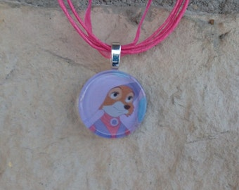Disney Animals Collection Maid Marian from Disney's Robin Hood Glass Pendant and Ribbon Necklace