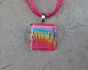 Broadway Musical Xanadu Glass Pendant and Ribbon Necklace