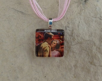 Broadway Musical Dogfight Glass Pendant and Ribbon Necklace