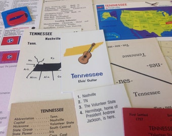 TENNESSEE flash cards paper ephemera collage kit