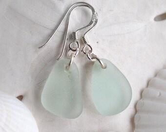 Genuine surf tumbled beach sea glass dangle earrings - sea foam, light mint blue-green on sterling silver