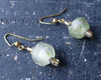 Green glass earrings recycled glass earrings sustainable jewelry
