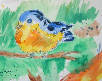 Puffy little Blue bird, OOAK Watercolor Baby Birds