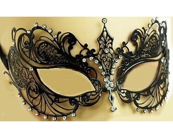 Laser Cut Metal Filigree Masquerade Mask with Sparkling Clear Crystals 4 Colors