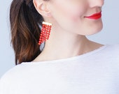 Paoli Red Earrings Statement Earrings Lace Earrings Dangle Earrings Geometric Earrings Fashion Earrings Gift For Her