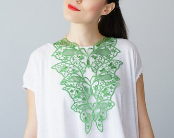 30% Inspiration Green Necklace Venise Lace Necklace Lace Jewelry Bib Necklace Statement Necklace Body Jewelry Gift/ FIORDI