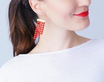 Red Earrings Statement Earrings Lace Earrings Dangle Earrings Geometric Earrings Fashion Earrings Gift For Her Inspirational/ PAOLI