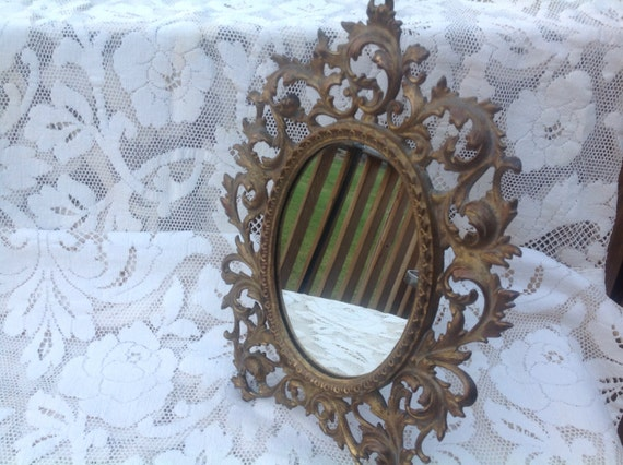 Vintage vanity mirror ornate stand up mirror by michelleshouse for Gold stand up mirror