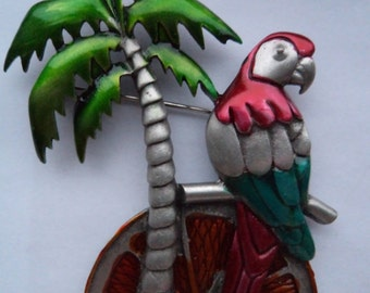 Vintage Signed JJ Silver pewter Palm Tree Parrot Brooch/Pin
