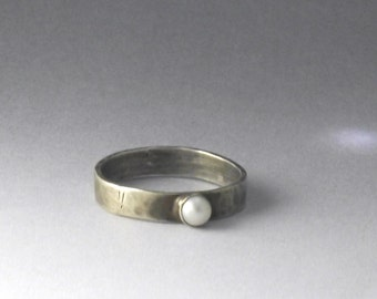 Wide Band Freshwater Pearl Stacking Ring