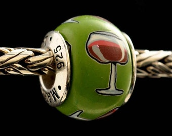 Wine Glass Jewelry Bead Charm for all European Charm Bracelets by MAYselect by May Tagher, MAYcreations