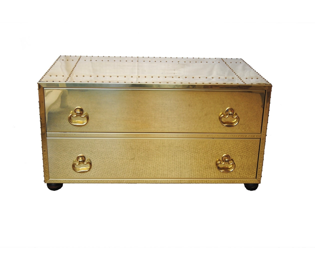 Vintage Sarreid Brass Chest Coffee Table With Nail Head Trim
