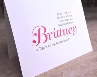 4 Personalized Will You Be My Bridesmaid Cards Freestyle Curve Script