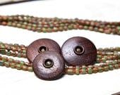 Vintage Wood Buttons on Indonesian Trade wind Beads Necklace.  OOAK, Handmade by ladeDAH! jewelry