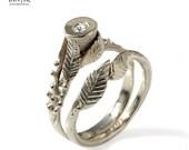 Bridal set, Engagement Ring and Matching Wedding Band, 14k white gold, diamond engagement ring, leaf Diamond ring, leaves wedding band