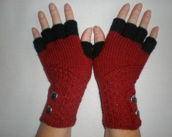 Hand-knitted dark red color gloves with half fingers and buttons