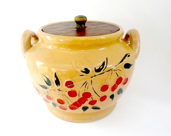 Stoneware Crock Cookie Jar, Pottery Canister, Wooden Lid, Relief Red Cherries, Large Stoneware Crock, Cookie Jar, Primitive, Rustic,Kitchen