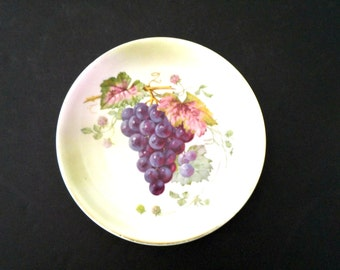 CT Altwasser Plate, Hand Painted Decorative Plate Grapes Leaves, Altwasser of Germany, Purple, Pink, Green, Wine Decor, Gift for Wine Lovers