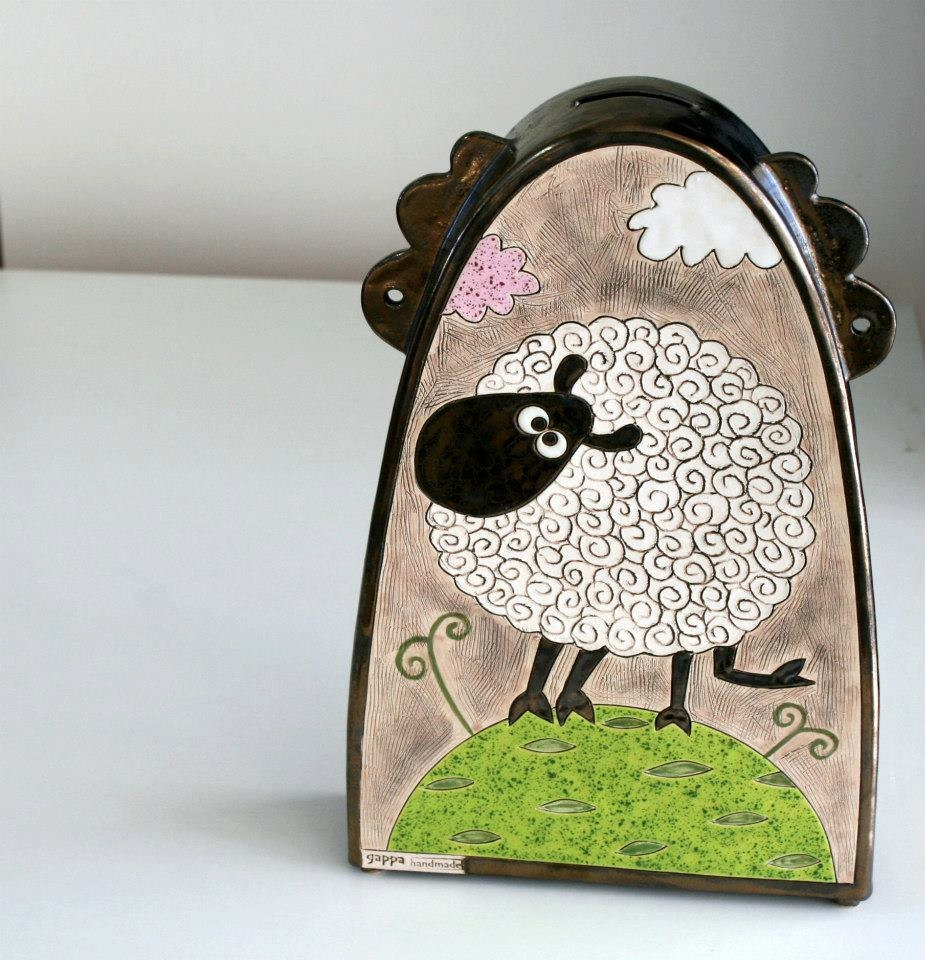 handmade money box pottery money box sheep pottery by