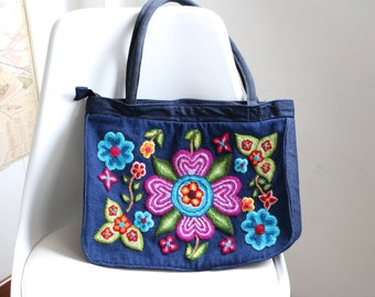 SALE!!!! Blue handbag embroidered with flowers