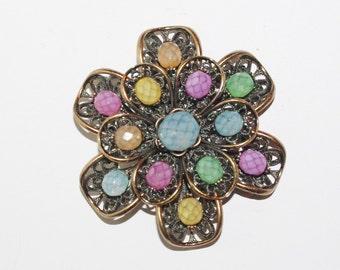 Joan Rivers Flower Brooch 3D Filigree Pastel                                  - S703
