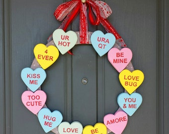 Valentines Wreath - Candy Heart