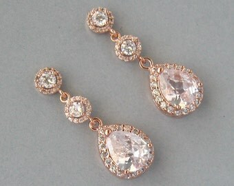 Cubic Zirconia, Rose Gold Plated Over Brass, Earrings Bridal, Rose Gold Earrings, Bridesmaids Gift- DK564