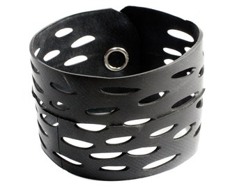 Vegan Leather Cuff - handcrafted from Bicycle Tube