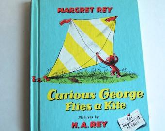 Vintage Children's Book, Curious George Flies a Kite