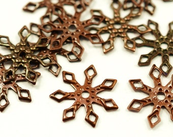 150  Pieces Copper Plated 13 mm Snowflake Findings ,Connectors