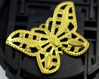 20 Pieces Raw Brass 20x25 mm Huge Butterfly Charms Findings