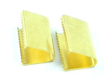 20 Pieces Raw Brass 9x16 mm Ribbon Crimps End Finished
