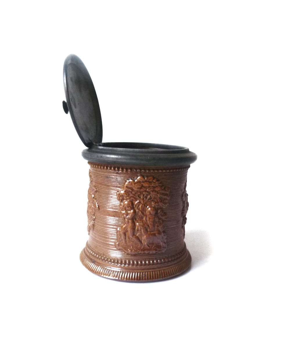 pot 224 tabac ancien en gr 232 s de beauvais avec couvercle en 233 tain