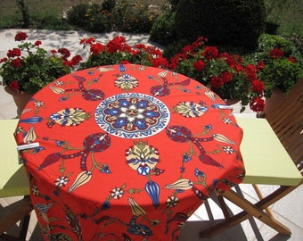 Red Small Square Tablecloth, Floral Tile Print Ottoman Tablecloth, Picnic Park Beach Camp Table Cloth,Turkish Traditional Hand Woven Kitchen