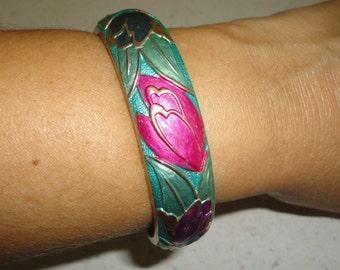 Sylvain Filion Hand Painted Enamel Bracelet Hinged