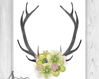 Deer Antler, Deer Head Antlers, Deer Horn, Antler art, Home Decor, Antler Wall Art, Antler & Flowers Wall Art Print