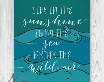 Live In the Sunshine : Emerson Quote, Typography Print, Illustrated Art Print, Home Decor Wall Art