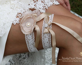 Bridal Flower Jewelled Garter Set Wedding Lace Bridsmaids Garter with Brooches, Crystals, Pearls and Handmade Flowers