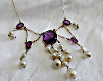 Edwardian Festoon Gold Filled Necklace: Amethyst Paste Stone Necklace,  Faux Pearls,Antique ca 1900