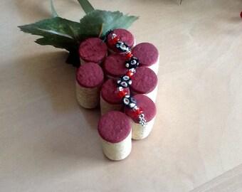 Bling Bling! Upcycled wine cork ornament~~~Beaded cork  ornament~~~~~Christmas decoration~~~used wine cork