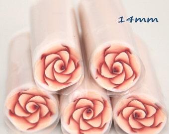 Peach-coral  rose polymer cane