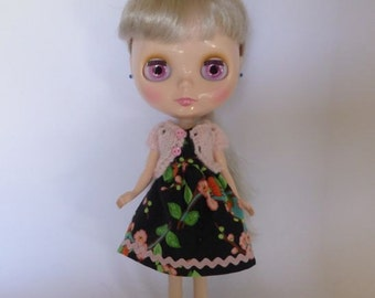 Hand Made Neo Blythe or Bratz Doll Black Floral Dress with Ric Rac Trim and Matching Pink Knitted Short Sleeve Cardy