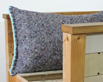 SALE, grey and jade pillow, moving blanket with crocheted edges