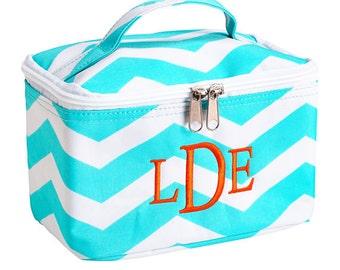 Monogrammed Small Cosmetic Bag Make Up Bag Aqua Chevron