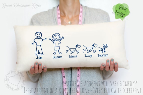 Cotton Wedding Anniversary Gift Ideas For Wife : Year cotton anniversary gift - Stick figure family pillow - Navy ...