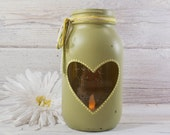 Hand Painted Mason Jar Cut Out Heart Candle Vase- Candy Holder- Country Decor- Mason Jar Vase- Country Weddings- Valentines Gift-